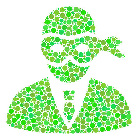 Masked Thief mosaic of circle elements in different sizes and green color tinges. Vector dots are composed into masked thief mosaic. Fresh design concept.
