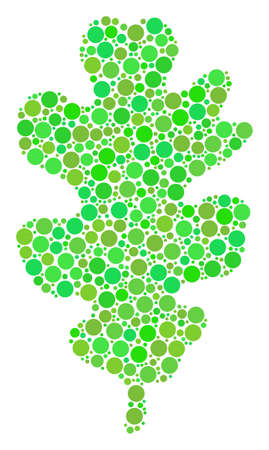 Oak Leaf composition of filled circles in variable sizes and eco green color tints. Vector dots are combined into oak leaf collage. Eco design concept. Illustration