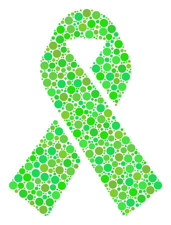 Mourning Ribbon composition of dots in various sizes and green color tinges. Vector dots are united into mourning ribbon collage. Fresh design concept.