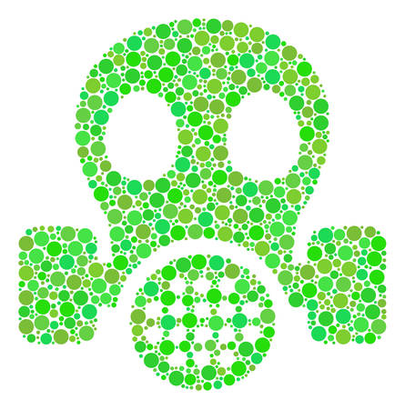 Gas Mask mosaic of filled circles in various sizes and green color tints. Vector circle elements are composed into gas mask composition. Ecological vector illustration. Illustration