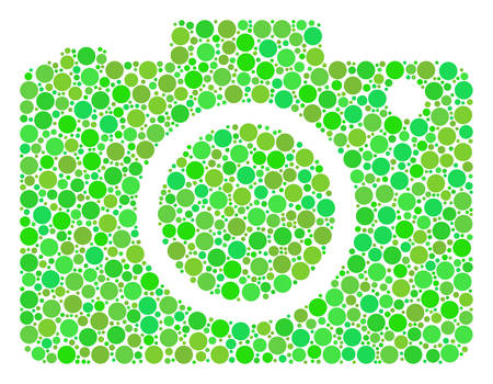 Photo Camera mosaic of circle elements in variable sizes and fresh green shades. Vector filled circles are united into photo camera mosaic. Eco design concept.