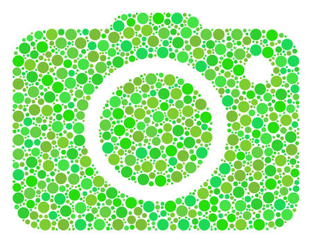 Photo Camera mosaic of filled circles in variable sizes and ecological green color tinges. Vector round elements are organized into photo camera collage. Ecological design concept.