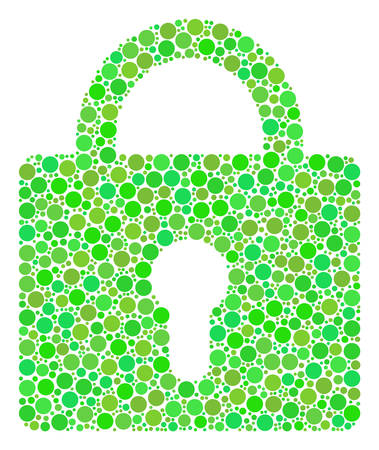 Lock mosaic of filled circles in various sizes and fresh green color tinges. Vector round elements are composed into lock illustration. Organic design concept. Иллюстрация
