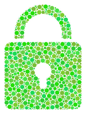 Lock mosaic of filled circles in variable sizes and fresh green color tints. Vector filled circles are grouped into lock mosaic. Fresh vector illustration.
