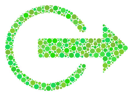 Logout composition of filled circles in different sizes and green shades. Vector dots are grouped into logout mosaic. Fresh design concept. Illustration