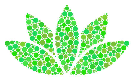 Lotus Flower collage of filled circles in different sizes and fresh green color hues. Vector circle elements are combined into lotus flower collage. Fresh design concept. Иллюстрация