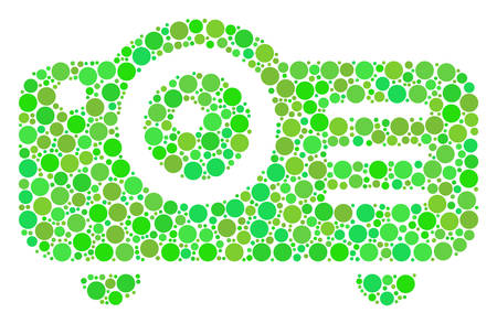 Projector collage of circle elements in various sizes and eco green color tints. Vector dots are grouped into projector illustration. Eco vector illustration. Illustration