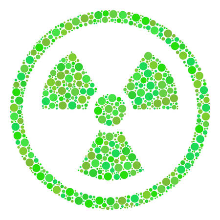 Radioactive collage of dots in variable sizes and fresh green color hues. Vector dots are united into radioactive illustration. Organic vector illustration. Illustration