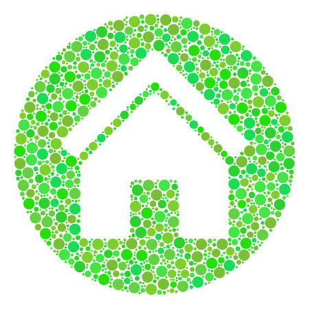 Real Estate composition of dots in different sizes and eco green shades. Vector round dots are grouped into real estate illustration. Fresh design concept.