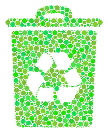 Recycle Bin collage of dots in variable sizes and fresh green color tints. Vector round dots are grouped into recycle bin mosaic. Fresh design concept.