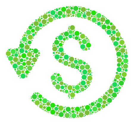 Refund mosaic of filled circles in different sizes and eco green color tints. Vector circle elements are combined into refund illustration. Freshness vector illustration.