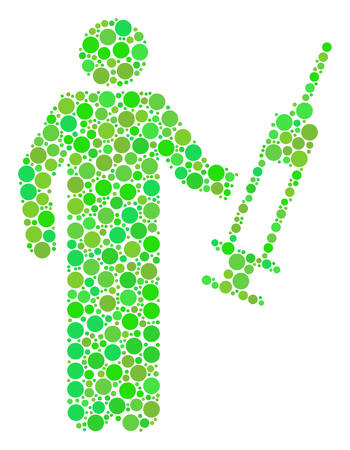 Medic mosaic of dots in variable sizes and green color tones. Vector round dots are grouped into medic illustration. Ecological vector illustration. Illustration