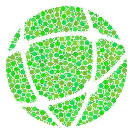 Network composition of dots in variable sizes and ecological green shades. Vector circle elements are combined into network mosaic. Eco vector illustration.