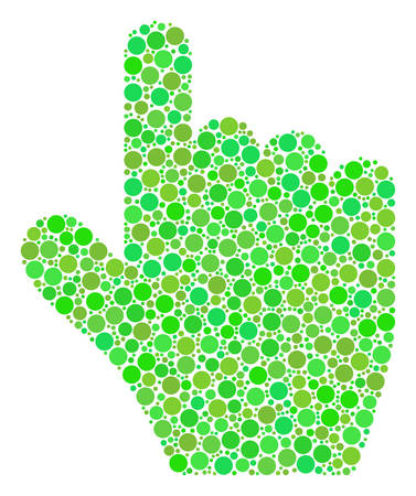 Pointer Finger collage of circle elements in different sizes and ecological green color hues. Vector filled circles are united into pointer finger mosaic. Ecology vector illustration.