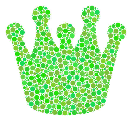 Royal collage of dots in various sizes and ecological green color tints. Vector dots are grouped into royal collage. Organic design concept. Illustration