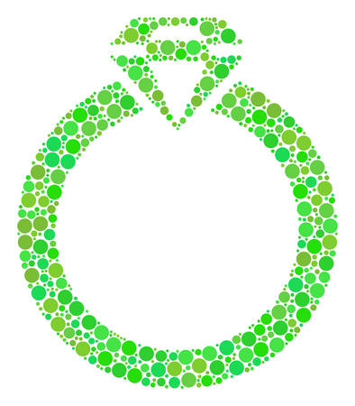 Ruby Ring collage of dots in variable sizes and fresh green shades. Vector round elements are united into ruby ring mosaic. Freshness design concept.