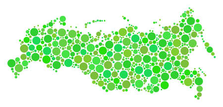 Russia Map collage of circle elements in various sizes and ecological green color tinges. Vector round dots are composed into russia map mosaic. Ecology design concept.