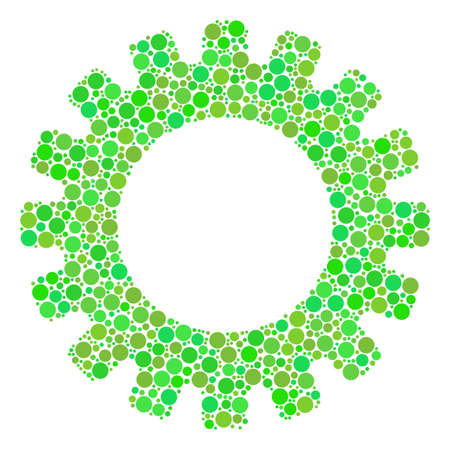 Gear collage of filled circles in different sizes and fresh green color tones. Vector circle elements are grouped into gear collage. Freshness vector illustration.