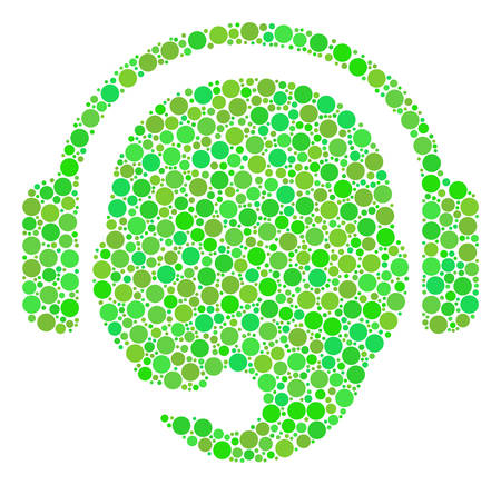 Operator Head collage of dots in various sizes and green shades. Vector circle elements are composed into operator head mosaic. Fresh vector illustration. Illustration