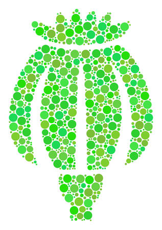 Opium Poppy mosaic of filled circles in various sizes and green color tinges. Vector circle elements are combined into opium poppy composition. Organic design concept.