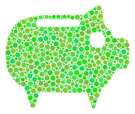 Piggy Bank collage of dots in different sizes and green color tones. Vector round elements are composed into piggy bank composition. Freshness vector illustration.