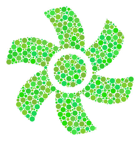 Rotor composition of dots in different sizes and fresh green color hues. Vector round dots are organized into rotor collage. Freshness design concept.