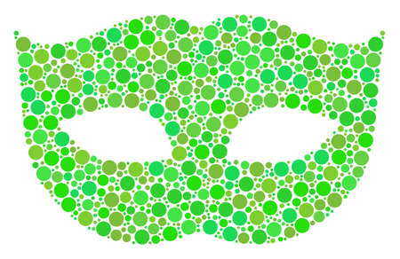 Privacy Mask mosaic of filled circles in variable sizes and green color tones. Vector circle elements are organized into privacy mask composition. Freshness design concept.