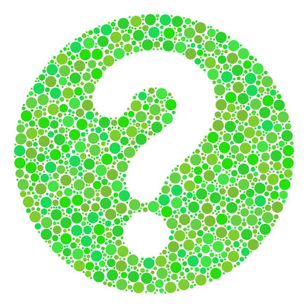 Query mosaic of filled circles in different sizes and green color tints. Vector filled circles are combined into query composition. Ecological vector illustration.