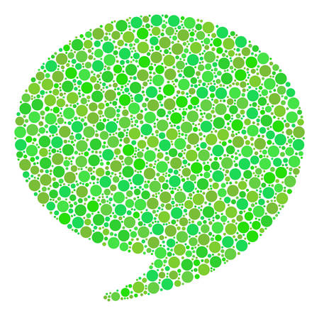 Quote collage of dots in various sizes and fresh green color tints. Vector circle elements are united into quote collage. Freshness design concept. Ilustração