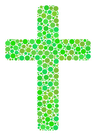 Religious Cross collage of circle elements in variable sizes and ecological green color tones. Vector circle elements are combined into religious cross illustration. Fresh design concept. Vettoriali