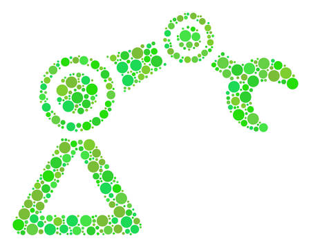 Robotics Manipulator composition of filled circles in variable sizes and fresh green shades. Vector circle elements are composed into robotics manipulator mosaic. Eco design concept. Illustration