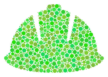 Safety Helmet composition of dots in different sizes and eco green color tinges. Vector filled circles are composed into safety helmet collage. Fresh design concept.