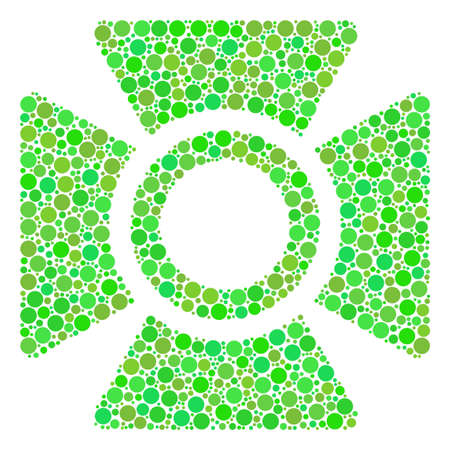 Searchlight mosaic of filled circles in various sizes and eco green color hues. Vector dots are grouped into searchlight collage. Fresh design concept. Illustration