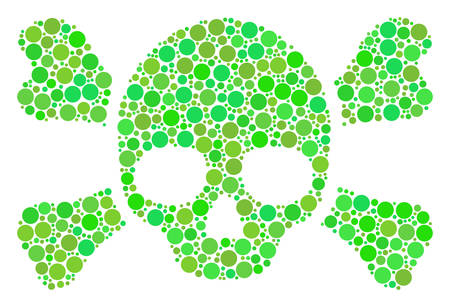 Skull Crossbones collage of dots in variable sizes and fresh green color hues. Vector filled circles are united into skull crossbones collage. Ecological vector illustration.