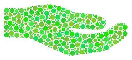 Share Hand composition of dots in variable sizes and green color tints. Vector round elements are combined into share hand illustration. Eco vector illustration.
