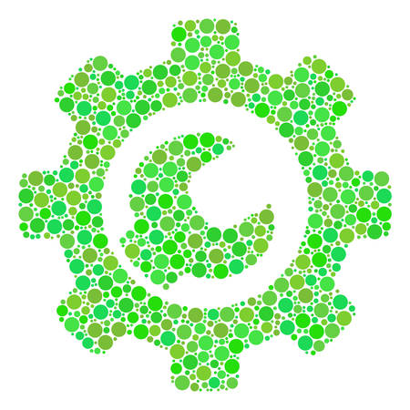 Service Tools mosaic of circle elements in different sizes and green shades. Vector round elements are combined into service tools illustration. Eco vector illustration.