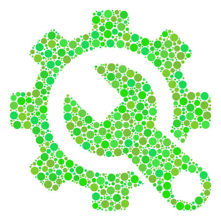 Service Tools mosaic of filled circles in different sizes and green shades. Vector dots are combined into service tools illustration. Ecological vector illustration. Ilustrace