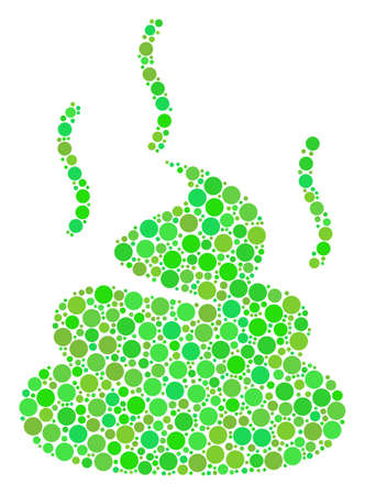 Shit Smell composition of dots in different sizes and ecological green color tones. Vector round dots are organized into shit smell mosaic. Ecology vector illustration.