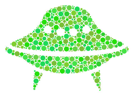 Space Ship mosaic of circle elements in various sizes and green shades. Vector dots are grouped into space ship collage. Freshness vector illustration. Illustration