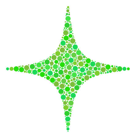 Space Star collage of circle elements in different sizes and green color tones. Vector circle elements are grouped into space star mosaic. Fresh vector illustration.