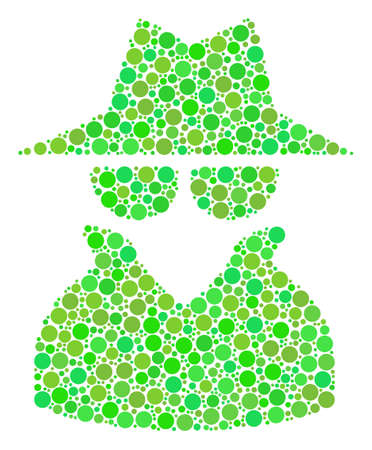 Spy composition of dots in variable sizes and ecological green shades