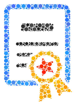 Certificate composition of round dots in various sizes and color tones. Circle elements are organized into certificate vector mosaic. Vector illustration. Illustration
