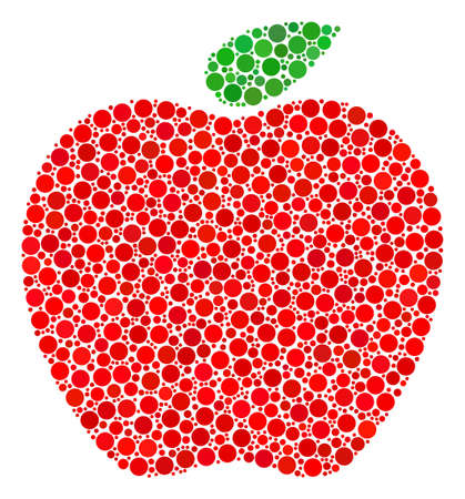 Apple collage of dots in different sizes and color shades. Circle elements are composed into apple vector collage. Vector design concept. Çizim