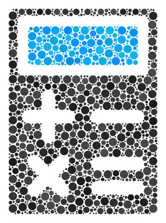 Calculator composition of round dots in variable sizes and color tones. Circle elements are organized into calculator vector illustration. Vector design concept.