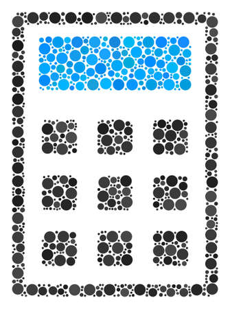 Calculator composition of round dots in variable sizes and color tints. Filled circles are united into calculator vector illustration. Vector illustration.