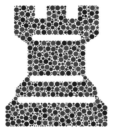 Chess Tower composition of dots in different sizes and color tints. Circle dots are grouped into chess tower vector mosaic. Vector illustration.