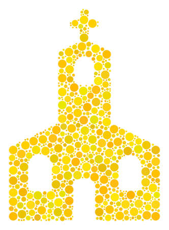Christian Church mosaic of circle dots in variable sizes and color tinges. Filled circles are united into christian church vector mosaic. Vector illustration. Illustration