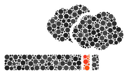Cigarette Smoke collage of round dots in different sizes and color tints. Filled circles are composed into cigarette smoke vector mosaic. Vector illustration.