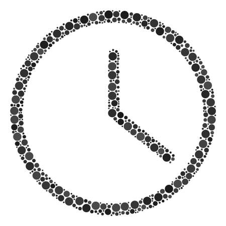 Clock mosaic of round dots in different sizes and color tones. Dots are united into clock vector illustration. Vector illustration.