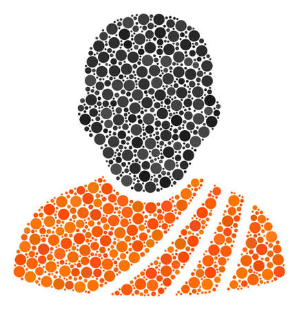 Buddhist Monk collage of circle dots in variable sizes and color hues. Circle dots are grouped into buddhist monk vector composition. Vector illustration. Illustration